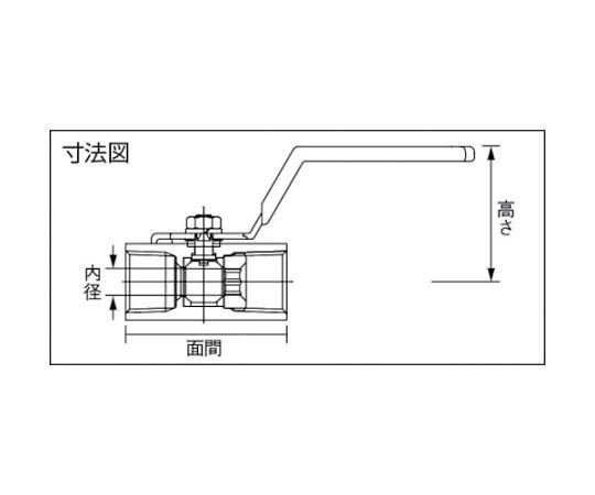ステンレス製3.92MPaミニボール弁 レバーハンドル 呼び径(A):40×呼び径(B):1・1/2 UBV14HR