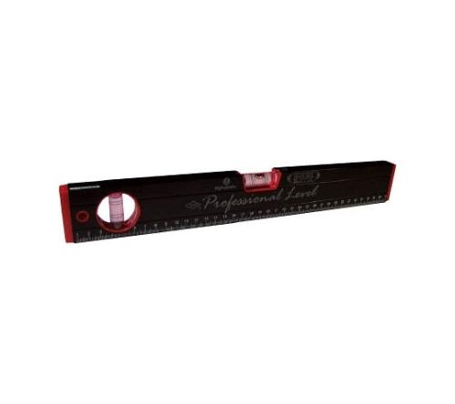 マグネット付 箱型アルミレベル(黒×赤)
