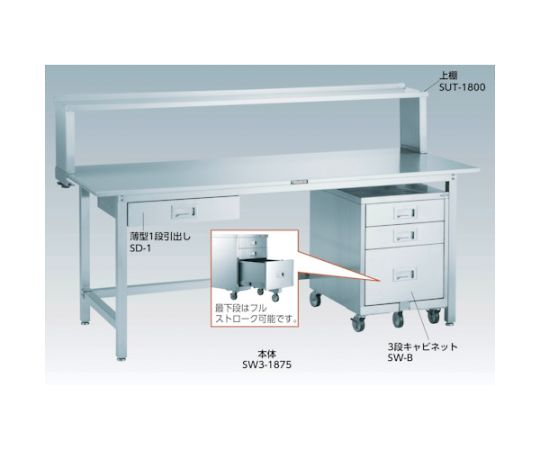 SW3型オールステンレス作業台 1800X900 1段引出付 SW3-1890SD1