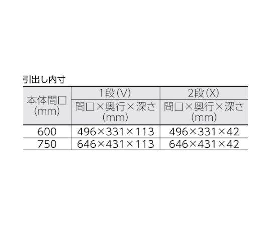 フェニックスワゴン 750X500XH740 引出付 YG色 PEW-772VX-YG