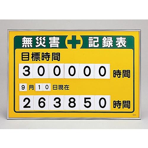 数字差込み式記録板 「無災害記録表 目標時間」 記録-200A 229200