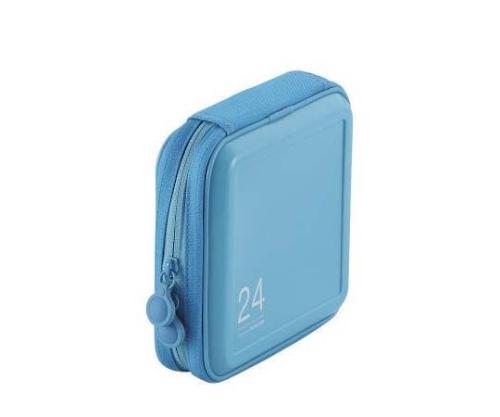 [取扱停止]CD DVDケース セミハード ファスナー付 24枚入 ブルー CCD-H24BU