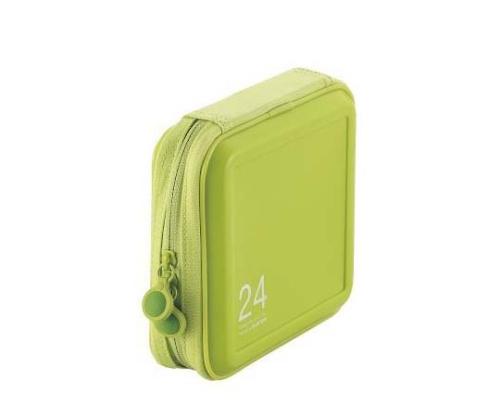 [取扱停止]CD DVDケース セミハード ファスナー付 24枚入 グリーン CCD-H24LGN