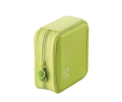 [取扱停止]CD DVDケース セミハード ファスナー付 52枚入 グリーン CCD-H52LGN