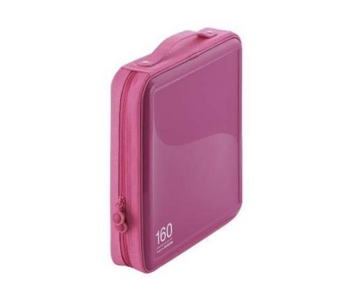 [取扱停止]CD DVDケース セミハード ファスナー付 160枚入 ピンク CCD-H160PN