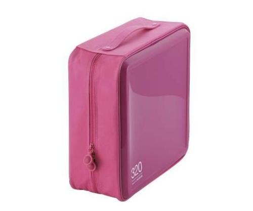 [取扱停止]CD DVDケース セミハード ファスナー付 320枚入 ピンク CCD-H320PN