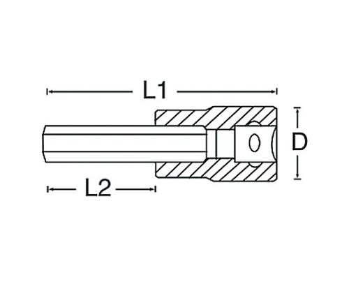 ロングヘックスビットソケット 3/8DR