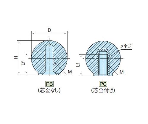プラスチック握り玉(芯金付き) PC20X5R