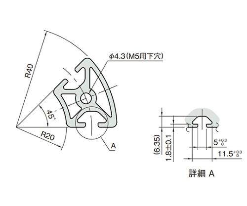 ラウンドプロファイル5 L5-RPH24D45N-3M