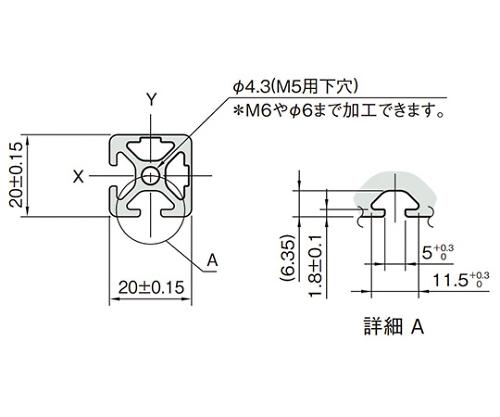 ストラットプロファイル5 L5-SPH2020N2-3M