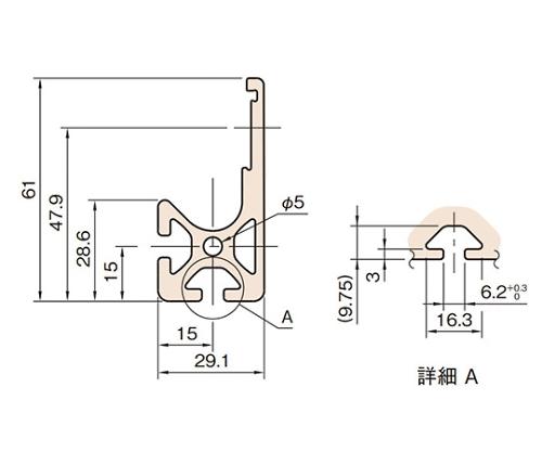 C型スライドローラープロファイル L6-CSRP6129N-3M