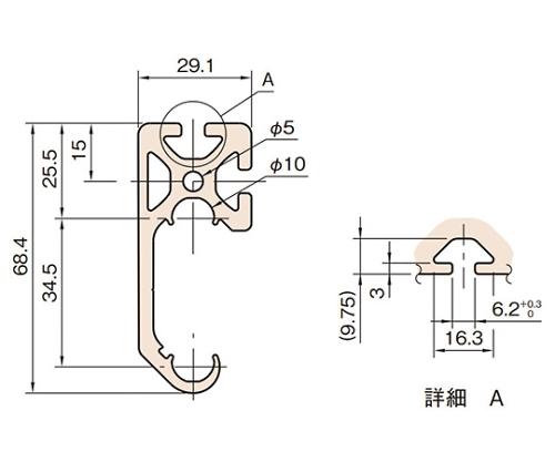 C型スライドレールプロファイル L6-CSRP6829N-3M