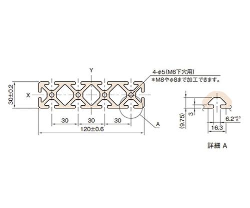 ストラットプロファイル6 L6-SPH12030N-3M