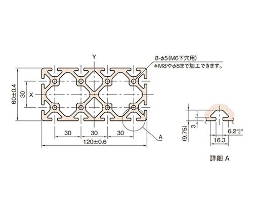 ストラットプロファイル6 L6-SPH12060N-3M