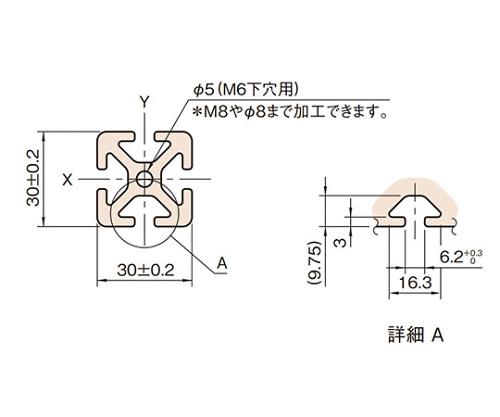 ストラットプロファイル6 L6-SPH3030N-3M
