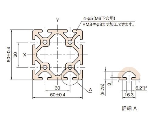 ストラットプロファイル6 L6-SPH6060N-3M