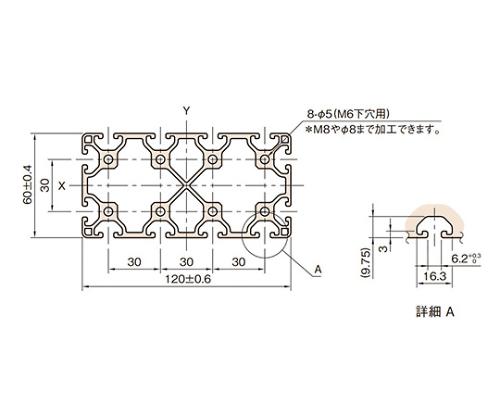 ストラットプロファイル6 軽量型 L6-SPL12060N-3M