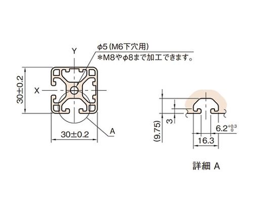 ストラットプロファイル6 軽量型 L6-SPL3030N2-3M