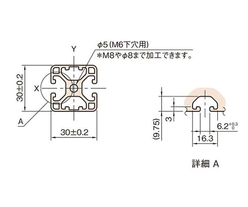 ストラットプロファイル6 軽量型 L6-SPL3030N3-3M