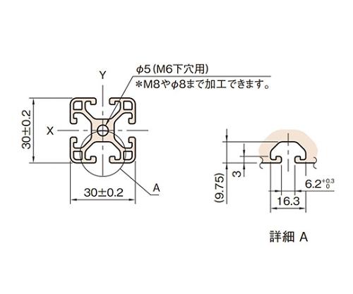 ストラットプロファイル6 軽量型 L6-SPL3030N-3M