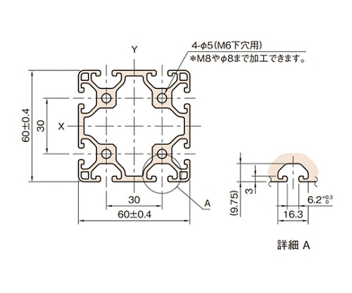 ストラットプロファイル6 軽量型 L6-SPL6060N-3M
