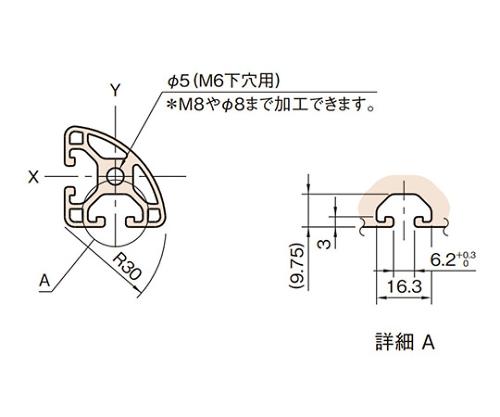 ストラットプロファイル6 軽量型 L6-SPLR3030N-3M