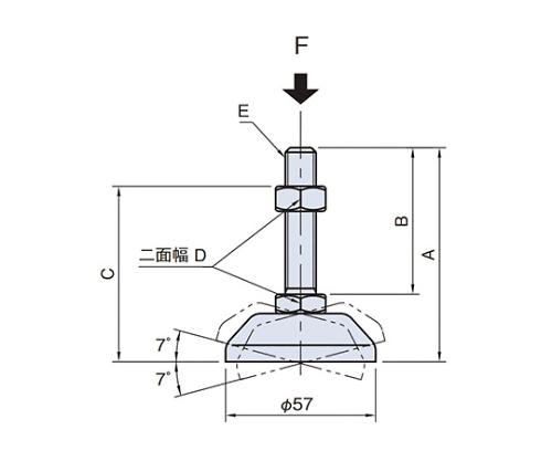 レべリングパッド60 LPS60-M12X120
