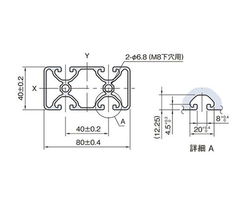 ストラットプロファイル エコノミー型 SPE8040N2-3M