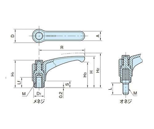 エルゴアジャストクランプレバー(オネジ) EAL78X30-SUS