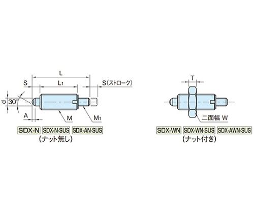 インデックスプランジャー(ノブ無し) SDX10N-M4-SUS