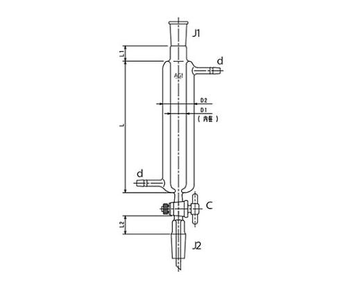 ジョイント付二重管式クロマトカラム(PTFEコック付)