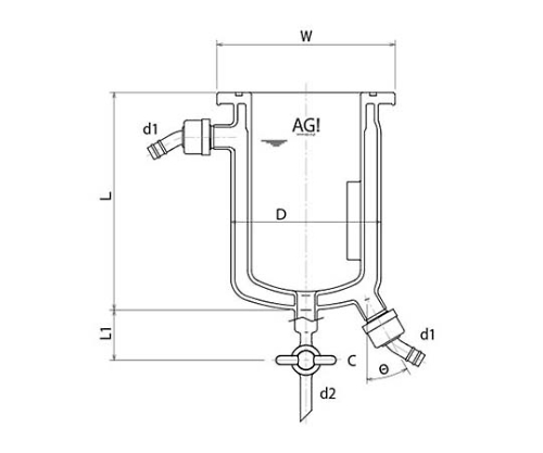[Discontinued]Full Jacket Type Reaction Vessel with Drain Cock, O-Ring Groove, Stirring Baffle and others