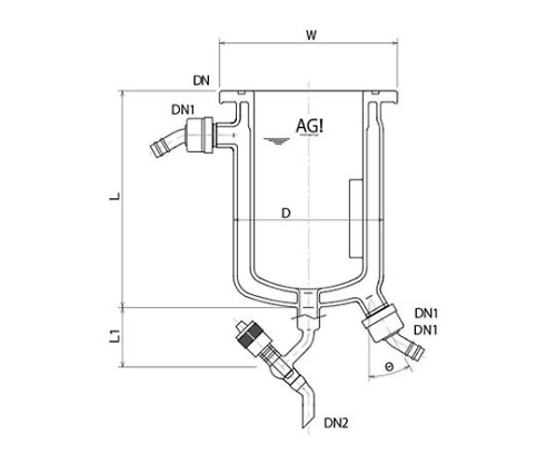 [Discontinued]Full Jacket Type Reaction Vessel with Drain Valve, O-Ring Groove, Stirring Baffle and others