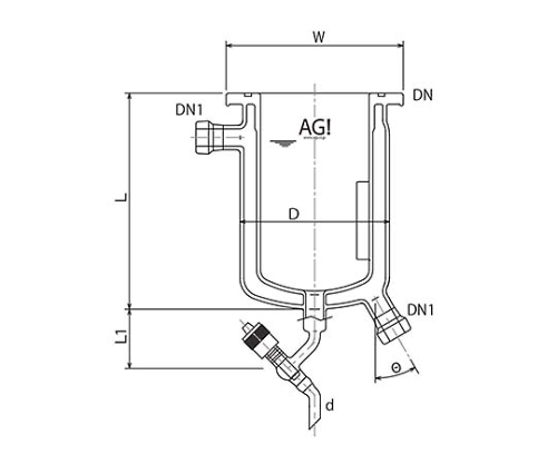 [Discontinued]Full Jacket Type Reaction Vessel with Drain Valve, O-Ring Groove 3071-03/75-M-G