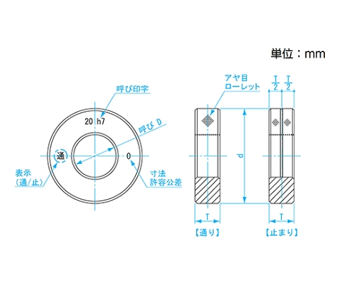 鋼限界リングゲージ h7 φ19 LR19-h7