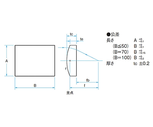 円筒面平凸レンズ BK 20×20mm 焦点距離50mm CLB-2020-50P