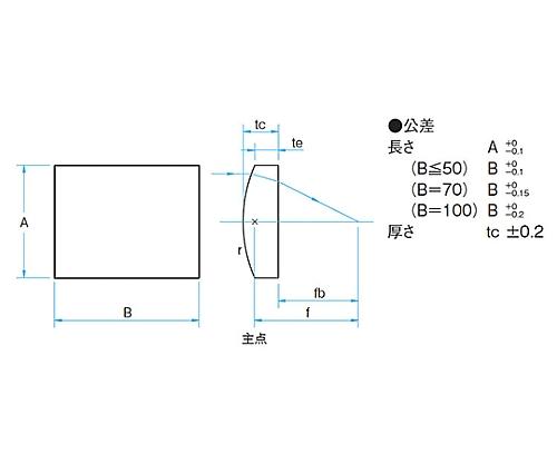 円筒面平凸レンズ BK 20×20mm 焦点距離250mm CLB-2020-250PM