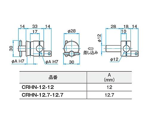 回転式クロスクランプ CRHN-12.7-12.7