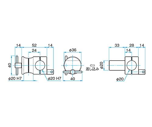回転式クロスクランプ CRHN-20-20