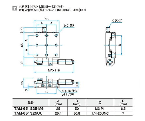 X軸アルミクロスローラステージ 移動量/1回転0.5mm TAM-651S25UU