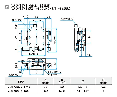 XY軸アルミクロスローラステージ 移動量/1回転0.5mm TAM-652SRUU