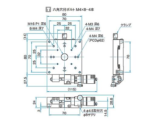X軸アルミクロスローラステージ サイズ80×80mm TAM-801SWP