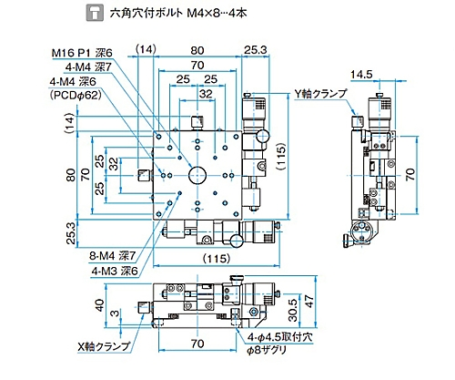 XY軸アルミクロスローラステージ サイズ80×80mm TAM-802SWP