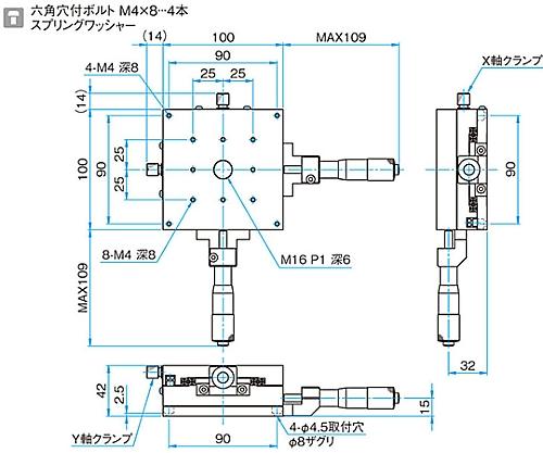 XY軸アルミクロスローラステージ サイズ100×100mm TAM-1002C