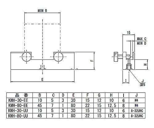 角型素子ホルダー 適応素子サイズ□10~□45mm  KMH-30-EE
