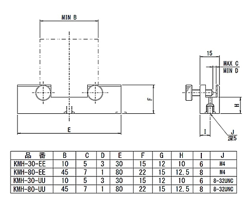 角型素子ホルダー 適応素子サイズ□45~□100mm  KMH-80-UU