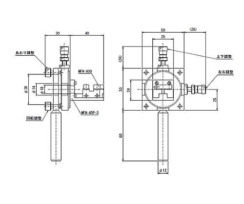 小型芯出し光ファイバーホルダー 調整範囲 あおり:±2°  MFH-FOP-2