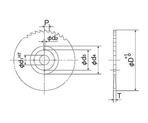 TINコバルトソー φ300×2.5t  穴径φ31.8 (ピンホール;φ50×9×2) TCMS12-P04