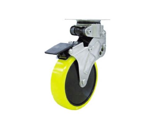 緩衝キャスターS付自在車 100径帯電防止ウレタン車輪 NPG100SUES2