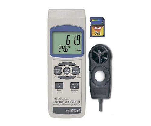 マルチ環境測定器 風速・温度・湿度・照度 EM-9300SD